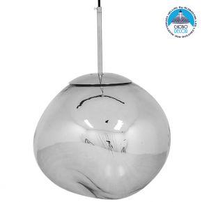 Μοντέρνο Κρεμαστό Φωτιστικό Οροφής Μονόφωτο Γυάλινο Ασημί Νίκελ Φ36 GloboStar DIXXON CHROME 01464