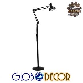 Μοντέρνο Φωτιστικό Δαπέδου Μονόφωτο Μεταλλικό Μαύρο Φ15 GloboStar AUDREY BLACK 01468