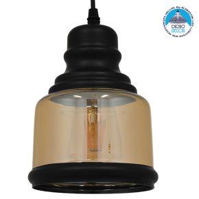 Vintage Κρεμαστό Φωτιστικό Οροφής Μονόφωτο Γυάλινο Μελί Διάφανο Φ15 GloboStar WILLIAM 01506