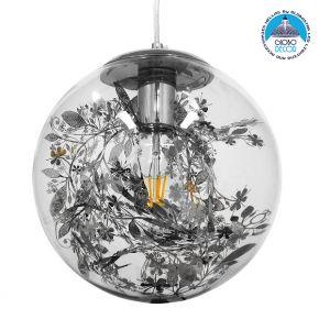 Μοντέρνο Κρεμαστό Φωτιστικό Οροφής Μονόφωτο Γυάλινο Διάφανο με Ασημί Νίκελ Γιρλάντα Φ25cm GloboStar HARPER SILVER 01510