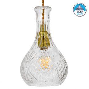 Vintage Κρεμαστό Φωτιστικό Οροφής Μονόφωτο Γυάλινο Διάφανο Φ14 GloboStar RUM 01514