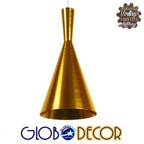 Μοντέρνο Κρεμαστό Φωτιστικό Οροφής Μονόφωτο Χρυσό Μεταλλικό Καμπάνα Φ18 GloboStar HUZHOU 01546