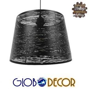 Μοντέρνο Industrial Κρεμαστό Φωτιστικό Οροφής Μονόφωτο Μεταλλικό Μαύρο Καμπάνα Φ35 GloboStar ATLANTIS 01556