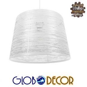 Μοντέρνο Industrial Κρεμαστό Φωτιστικό Οροφής Μονόφωτο Μεταλλικό Λευκό Καμπάνα Φ35 GloboStar ACCADEMIA 01557