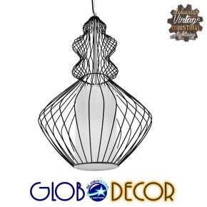 Vintage Industrial Κρεμαστό Φωτιστικό Οροφής Μονόφωτο Μαύρο Μεταλλικό Πλέγμα και Υφασμάτινο Εσωτερικό Καπέλο Φ40 GloboStar LILY 01558