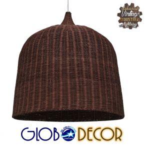Vintage Κρεμαστό Φωτιστικό Οροφής Μονόφωτο Καφέ Σκούρο Ξύλινο Ψάθινο Rattan Φ90 GloboStar EDEN 01569