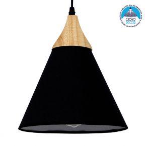 Μοντέρνο Κρεμαστό Φωτιστικό Οροφής Μονόφωτο Μαύρο Υφασμάτινο με Ξύλο Καμπάνα Φ25cm GloboStar SHADE BLACK 01576