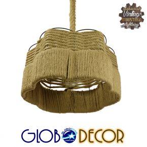 Vintage Κρεμαστό Φωτιστικό Οροφής Μονόφωτο Μπεζ Καμπάνα με Σχοινί Φ38 GloboStar TONDO 01604