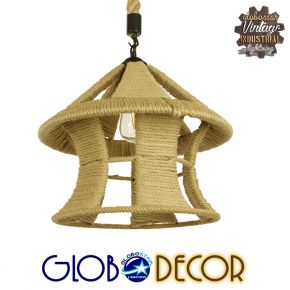 Vintage Κρεμαστό Φωτιστικό Οροφής Μονόφωτο Μπεζ Καμπάνα με Σχοινί Φ36 GloboStar SOLITARIO 01606
