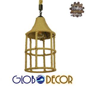 Vintage Κρεμαστό Φωτιστικό Οροφής Μονόφωτο Πλέγμα με Μπεζ Σχοινί Φ22 GloboStar YUBA 01612