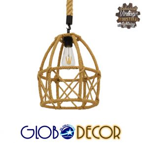 GloboStar® TELAN 01615 Vintage Κρεμαστό Φωτιστικό Οροφής Μονόφωτο Πλέγμα με Μπεζ Σχοινί Φ30 x Υ38cm