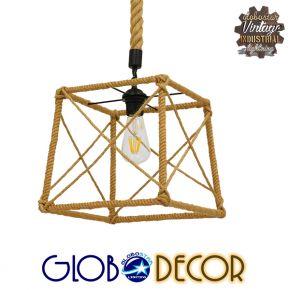 Vintage Κρεμαστό Φωτιστικό Οροφής Μονόφωτο Πλέγμα με Μπεζ Σχοινί GloboStar POLISHED 01616