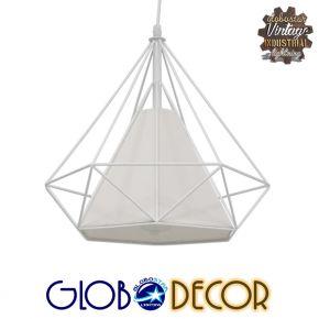 Μοντέρνο Industrial Κρεμαστό Φωτιστικό Οροφής Μονόφωτο Λευκό με Ύφασμα Μεταλλικό Πλέγμα Φ38 GloboStar KAIRI WHITE 01619