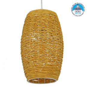 Vintage Κρεμαστό Φωτιστικό Οροφής Μονόφωτο Καφέ Ξύλινο Bamboo Φ15 GloboStar SAO PAULO 01631