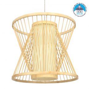 GloboStar DE PARIS 01632 Vintage Κρεμαστό Φωτιστικό Οροφής Μονόφωτο Μπεζ Ξύλινο Bamboo Φ35 x Y32cm