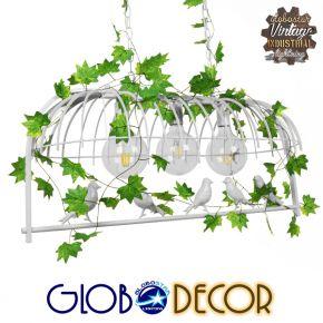 Vintage Industrial Κρεμαστό Φωτιστικό Οροφής Τρίφωτο Λευκό Μεταλλικό Πλέγμα GloboStar ACHILLEA 01647