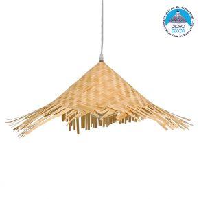 GloboStar® RICEHAT 01666 Vintage Κρεμαστό Φωτιστικό Οροφής Μονόφωτο Μπέζ Ξύλινο Ψάθινο Bamboo Φ70 x Υ25cm