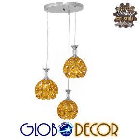 Μοντέρνο Κρεμαστό Φωτιστικό Οροφής Τρίφωτο Χρυσό Μεταλλικό με Κρύσταλλα Φ50 GloboStar MARGARITA 01670