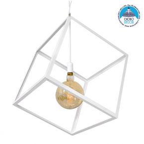 Μοντέρνο Κρεμαστό Φωτιστικό Οροφής Μονόφωτο Λευκό Μεταλλικό Πλέγμα 70x70x87cm GloboStar CUBE WHITE 70x70x87CM 01675