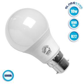 Λάμπα LED B22 A60 Γλόμπος 10W 230V 990lm 260° Ψυχρό Λευκό 6000k GloboStar 01682