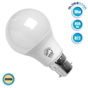 Λάμπα LED B22 A60 Γλόμπος 10W 230V 950lm 260° Θερμό Λευκό 3000k GloboStar 01684