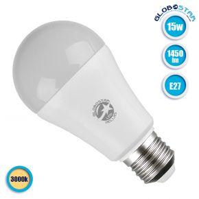Λάμπα LED E27 A60 Γλόμπος 15W 230V 1450lm 260° Θερμό Λευκό 3000k GloboStar 01696