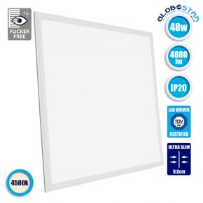 LED Panel Οροφής Ultra Slim 60x60cm Μοριακού Φωτισμού Milky 48W 230V 4880lm 180° Φυσικό Λευκό 4500k GloboStar 01804