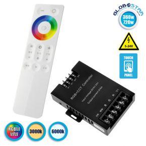 Ασύρματος LED RGBW-WW Controller με Χειριστήριο Αφής 2.4G 12v (360w) - 24v (720w) GloboStar 04060