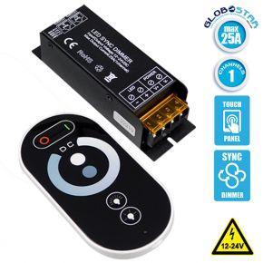 Ασύρματο LED Dimmer με Χειριστήριο Αφής 2.4G SYNC 12v (300w) - 24v (600w) GloboStar 04062