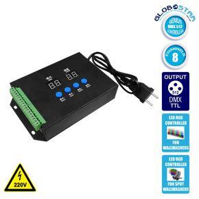 LED RGB GENIUS DMX512 TTL Controller 8 Καναλιών με Κάρτα SD 220v για RGB Wall Washer GloboStar 05029