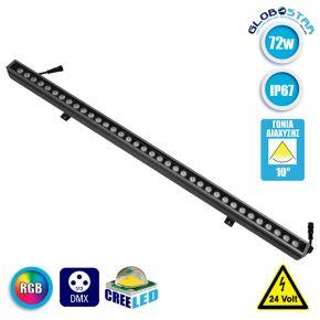 LED Wall Washer Αρχιτεκτονικού Φωτισμού 100cm DMX512 72W CREE 24v 8640lm Δέσμης 10° Μοιρών Αδιάβροχο IP67 RGB GloboStar 05032