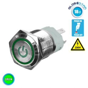 Διακοπτάκι LED PUSH ON 230 Volt Πράσινο GloboStar 05060