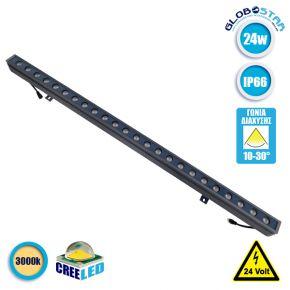 LED Wall Washer Αρχιτεκτονικού Φωτισμού 100cm GENIUS 24W CREE 24v 3360lm Δέσμης 10-30° Μοιρών Αδιάβροχο IP66 Θερμό Λευκό 3000k GloboStar 05102