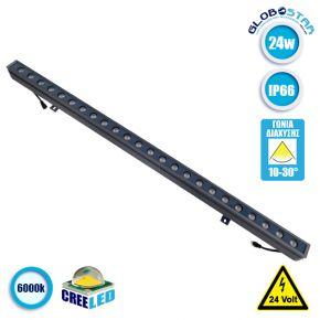 LED Wall Washer Αρχιτεκτονικού Φωτισμού 100cm GENIUS 24W CREE 24v 3840lm Δέσμης 10-30° Μοιρών Αδιάβροχο IP66 Ψυχρό Λευκό 6000k GloboStar 05104