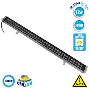 LED Wall Washer Αρχιτεκτονικού Φωτισμού 100cm GENIUS 72W CREE 24v 11520lm Δέσμης 10-30° Μοιρών Αδιάβροχο IP66 Ψυχρό Λευκό 6000k GloboStar 05118