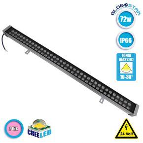 LED Wall Washer Αρχιτεκτονικού Φωτισμού 100cm GENIUS 72W CREE 24v 8640lm Δέσμης 10-30° Μοιρών Αδιάβροχο IP66 Ροζ GloboStar 05120