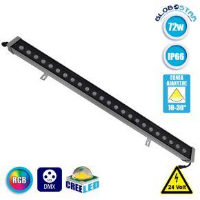 LED Wall Washer Αρχιτεκτονικού Φωτισμού 100cm GENIUS DMX512 72W CREE 24v 7200lm Δέσμης 10-30° Μοιρών Αδιάβροχο IP66 RGB GloboStar 05121