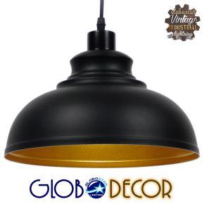 Μοντέρνο Κρεμαστό Φωτιστικό Οροφής Μονόφωτο Μαύρο Μεταλλικό Καμπάνα Φ30 GloboStar ANDY 01000