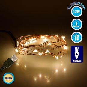 GloboStar® 79720 Διακοσμητική Γιρλάντα 2 Μέτρων 20 LED USB 5 Volt 1.2 Watt με Χάλκινο Συρμάτινο Καλώδιο Θερμό Λευκό 3000k