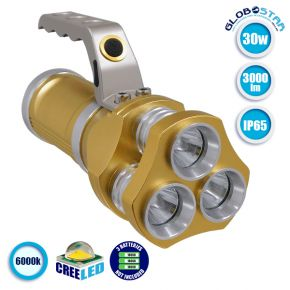 Φορητός Φακός CREE LED 3x10W 3000lm 3 Mode Ψυχρό Λευκό 6000k GloboStar 07045