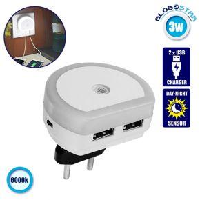 Φωτιστικό Νυκτός Πρίζας Φορτιστής LED Dual USB Charger με Αισθητήρα Μέρας Νύχτας GloboStar 07048