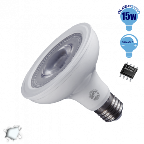 Λαμπτήρας LED E27 PAR30 Globostar 12 Μοίρες 15 Watt 230v Ψυχρό Dimmable