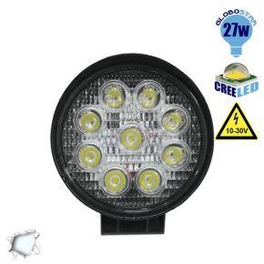 Προβολέας LED Εργασίας Round 27 Watt 10-30v Ψυχρό Λευκό