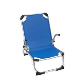 Campus Καρέκλα Παραλίας Αλουμινίου Με Μπράτσα και Ψηλή Πλάτη Μπλε