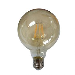 Eurolamp LED Λάμπα 8W G125 E27 SMD Filament Σφαιρική Gold Dimmable