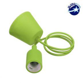 Λαχανί Κρεμαστό Φωτιστικό Οροφής Σιλικόνης με Υφασμάτινο Καλώδιο 1 Μέτρο E27 GloboStar Light Green 91008