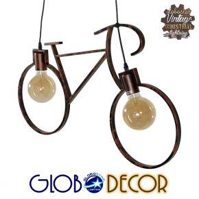 Vintage Κρεμαστό Φωτιστικό Οροφής Δίφωτο Καφέ Σκουριά Μεταλλικό GloboStar BIKE IRON RUST 00868