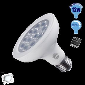 Λαμπτήρας LED E27 PAR30 Globostar 36 Μοίρες 12 Watt 230v Ψυχρό Dimmable