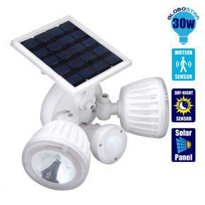 Αυτόνομος Ηλιακός Φωτοβολταϊκός Προβολέας Ασφαλείας CREE LED 30 Watt με Αισθητήρα Νυχτός - Κίνησης Ψυχρό Λευκό GloboStar 12110