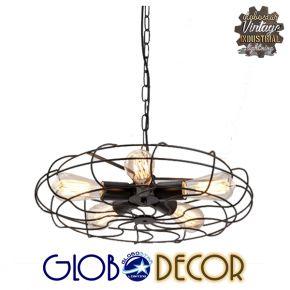 Vintage Industrial Μεταλλικό Μαύρο Φωτιστικό Οροφής Fan Globostar 5XE27 Με Ανάρτηση Αλυσίδας
